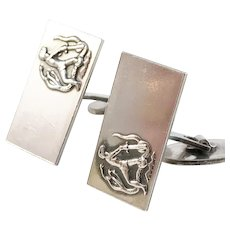 Eino Westerback, Finland year 1966 Sterling Silver Novelty Jeanne d'arc Pair of Cufflinks.