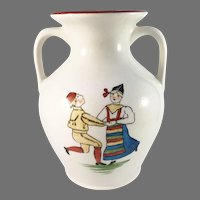 "Rörstrand Sweden c year 1900 ""Folk Dance from Dalecarlia"" Creamware Art Pottery Antique Vase."