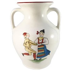 "Rörstrand Sweden c year 1900 ""Folk Dance from Dalecarlia"" Creamware Art Pottery Antique Vase."