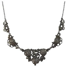 Germany early 1900s Solid 830 Silver Marcasite Rose Floral Necklace.