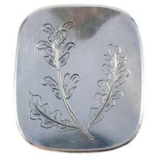 Kjellins, Sweden year 1957 Mid Century Sterling Silver Oak Leaves Brooch.