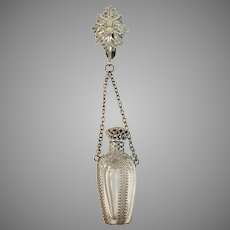 Germany Victorian Chatelaine Perfume Bottle. Silver Plate, Glass and Bronze. With Museum Exhibition Provenance