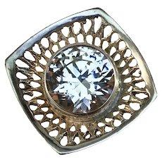KE Palmberg for ALTON, Sweden year 1972 Modernist Sterling Silver Rock Crystal Adjustable Ring. Signed.