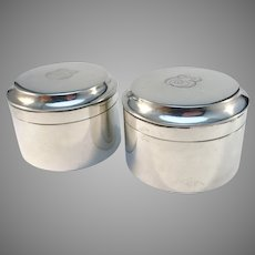 B Erlandsson, Sweden year 1914 Two Antique Sterling Silver Dressing Table Trinket Jewelry Boxes.
