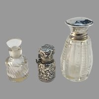 3 Antique Silver and Glass Perfume Bottles. Provenance