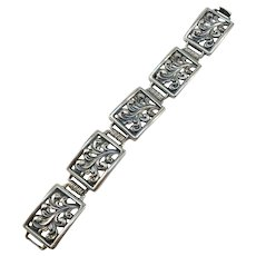 Martin Elmblad, Sweden year 1946 Mid Century Massive 2.2oz Sterling Silver Bracelet.