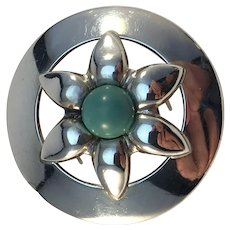 PeGe for Alton, Sweden year 1968 Sterling Silver Turquoise M o P Edelweiss Brooch.