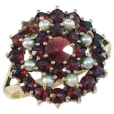 1910s Antique Bohemian Garnet Seed Pearl Vermeil Ring.
