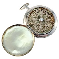 Lars Larsson, Gothenburg, year 1872, Victorian Large Sterling Silver Vinaigrette Locket Pendant.
