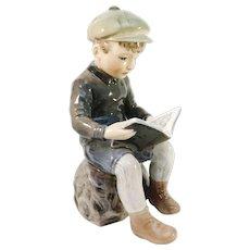 "Dahl Jensen, Denmark Mid Century Porcelain No 1096 Reading Boy Porcelain Figurine. 5.5"""