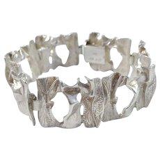 Victor Janson, Sweden 1960s Massive Organic 830 Silver Unisex Bracelet.