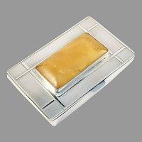 Forster & Graf, Germany 1920-30s Art Deco 830 Silver Amber Cigarette Box Etui.