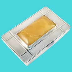 Forster & Graf, Germany 1920-30s Art Deco 830 Silver Amber Cigarette Box Etui.
