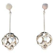 Alton, Sweden year 1970 Modernist Sterling Silver Dangle Earrings.