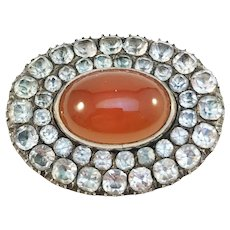 Georgian Silver Black Dot Paste Stone Carnelian Brooch. Conversion.