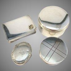 4 Vintage Solid Silver Trinket Boxes.