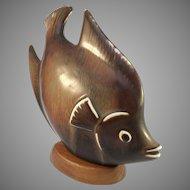 """Gunnar Nylund for Rörstrand Sweden 1940-56 Mid Century Stoneware Fish Figurine. 6.7"""""""