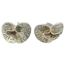 Theresia Hvorslev Sweden 1973 Sterling Silver Water Lilly Stud Earrings