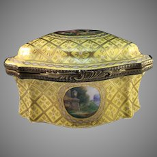 Gigantic Antique c 1880s Carl Thieme Potschappel Dresden Germany Porcelain Bronze Jewelry Casket