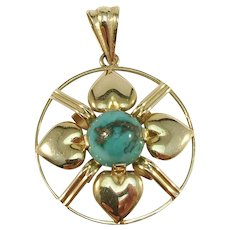 Johan Petersson, Stockholm year 1951 Mid Century 18k Gold Turquoise Pendant