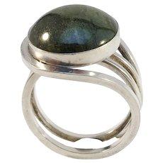 Stenlya, Stockholm year 1975 Modernist Sterling Silver Dark Forest Green Agate Adjustable Size Ring