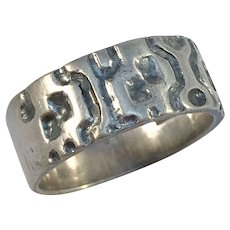 Kello Oy, Finland year 1971 Modernist Sterling Silver Band Ring