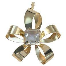 Ateljé Stigbert, Sweden year 1946 Mid Century 18k Gold Rock Crystal Large Pendant. Excellent.