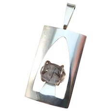 Fors & Nilsson, Sweden year 1974 Modernist Large Solid 830 Silver Tourmalated Quartz Pendant. Signed