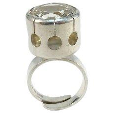 Alton, Sweden year 1971 Bold Modernist Sterling Silver Rock Crystal Adjustable Size Ring.