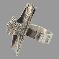 Knud V Andersen for Anton Michelsen Denmark 1970s Sterling Silver Bold Modernist Ring.