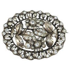 Lindberg, Stockholm year 1951 Mid Century Solid Silver Closed Back Paste Stone Brooch