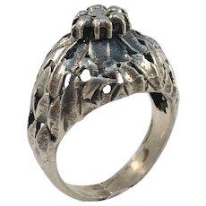 Martti Viikinniemi, Finland year 1970 Rare Brutalist 830 Silver Dome Ring.
