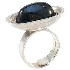 Elis Kauppi, Kupittaan Kulta Finland 1970s Bold Modernist Sterling Silver Onyx Ring.