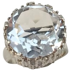 Bengt Hallberg, Sweden year 1973 Bold Modernist Sterling Silver Rock Crystal Ring. Excellent.