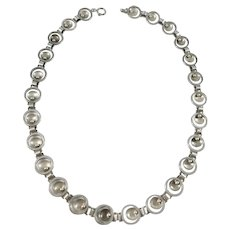 G Dahlgren, Sweden 1950s  Mid Century Modern Sterling Silver Necklace.
