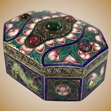 French Import Victorian Sterling Silver Enamel Paste Stone Box.
