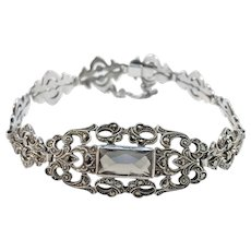 Austria Early 1900s Sterling Silver Smoky Quartz Marcasite Bracelet.