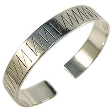 Bertil Haglund, Sweden year 1954 Mid Century Modern Chunky Sterling Silver Cuff Bangle Bracelet.