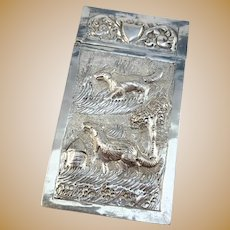 China 1910 Antique Sterling Silver Etui. Stunning Repoussé Dog in Landscape Decoration.