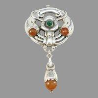 Grann & Laglye, Denmark c 1910s Large Skonvirke Arts and Crafts Solid Silver Amber Chrysoprase Brooch Pendant.