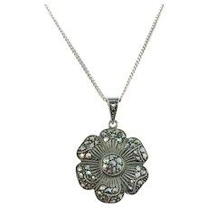 Austria, Mid Century Solid 835 Silver Marcasite Flower Pendant Necklace.