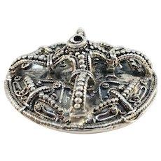 Bengt Hallberg, Sweden Vintage Viking Copy Sterling Silver Brooch Pendant.