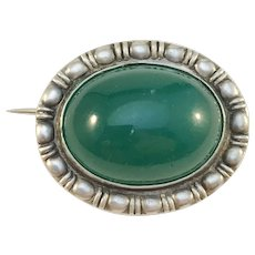 Denmark late Victorian c 1890s Small 830 Silver Chrysoprase Brooch. Makers Mark.