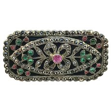 French Art Deco Sterling Silver Paste Stone Marcasite Brooch