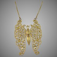 Woloch Paris Mid Century Large Butterfly Costume Jewelry Necklace.