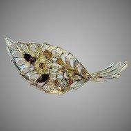 Signed Coro, USA Vintage Mid Century Costume Jewelry Brooch