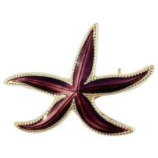 David-Andersen, Norway Vintage Sterling Silver Enamel Starfish Brooch