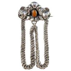 Christian Vilhelm Carl Larsen, Copenhagen 1910s, Solid 830 Silver Amber Arts and Crafts Skonvirke Brooch.