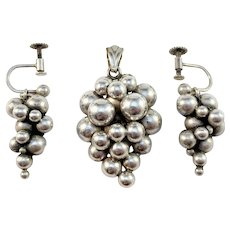 Tage Linde, Sweden year 1952 Mid Century Solid Silver Grape Cluster Set of Earrings and Pendant.