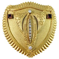 Antique c year 1900 Large Jugendstil Gilt Metal Paste Stone Brooch.